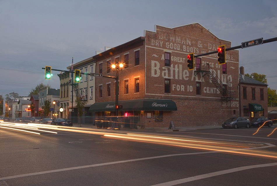Downtown Tipp City Ohio at night by Dan Cleary of Cleary Creative Photography Dayton Ohio