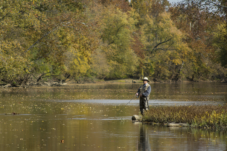 Fly Fisherman in the Miami River outside Tipp City Ohio by Dan Cleary of Cleary Creative Photography Dayton Ohio